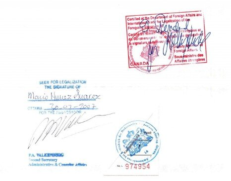 Sample Consular Legalisation stamp Canada